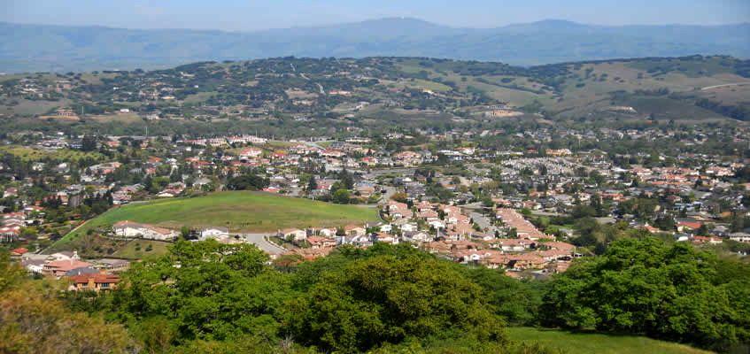 An aerial shot of Santa Clara County in California.